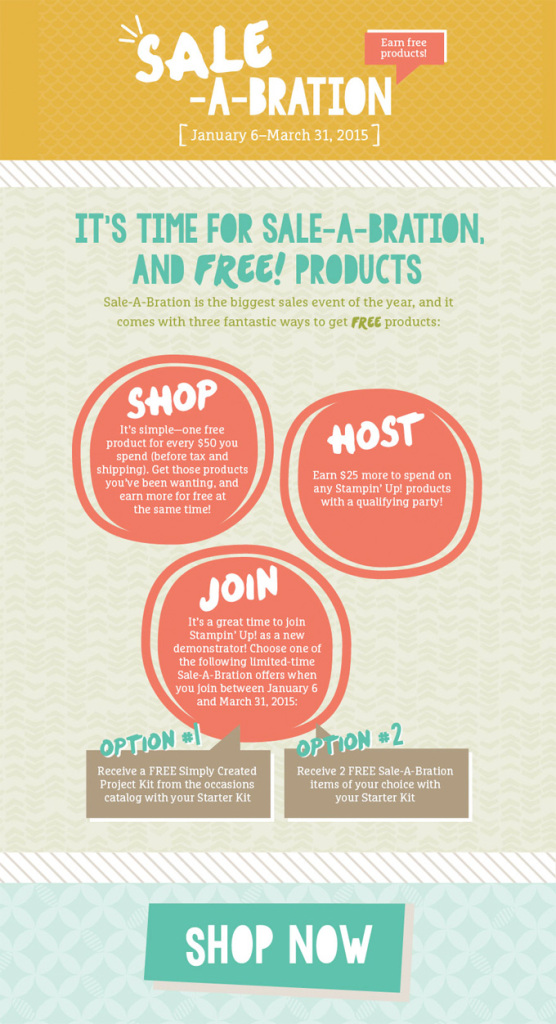 Sale-A-Bration: free stamps when you Shop, Host or Join! Details at LovenStamps