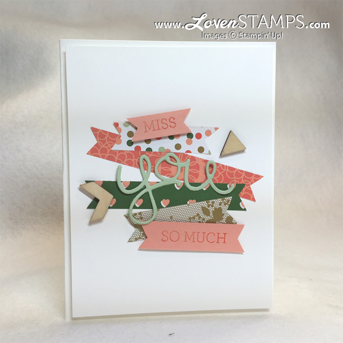 Use your scraps! Great card idea from Stamps in the Mail Club, shown here with Gold Soiree Designer Series Paper by Stampin Up!, card by LovenStamps