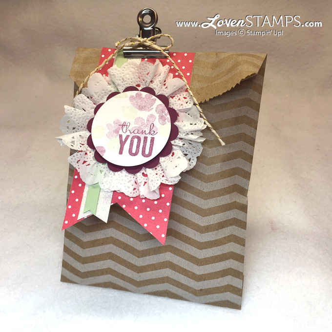 Painted Petals with the Chevron Tag A Bag for Stamps in the Mail Club with LovenStamps - using Stampin' Up! supplies