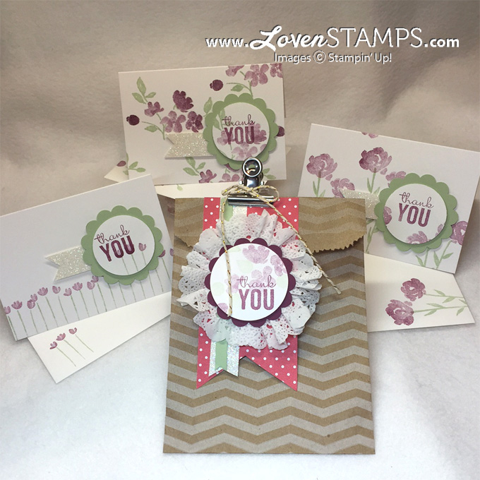 Painted Petals Gift Set - Learn how to make the Tea Lace Doilies ruffle medallion, with video tutorial for Stamps in the Mail with LovenStamps
