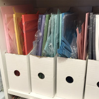 Idea for storing card stock scraps - use page protectors for each color in magazine holders.  Shared by LovenStamps