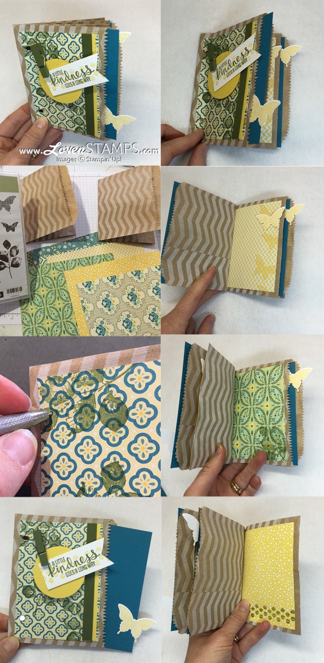 Paper Bag Pocket Card - how to make a paper bag book with the Kinda Eclectic stamp set from Stampin' Up - project and video tutorial available at LovenStamps
