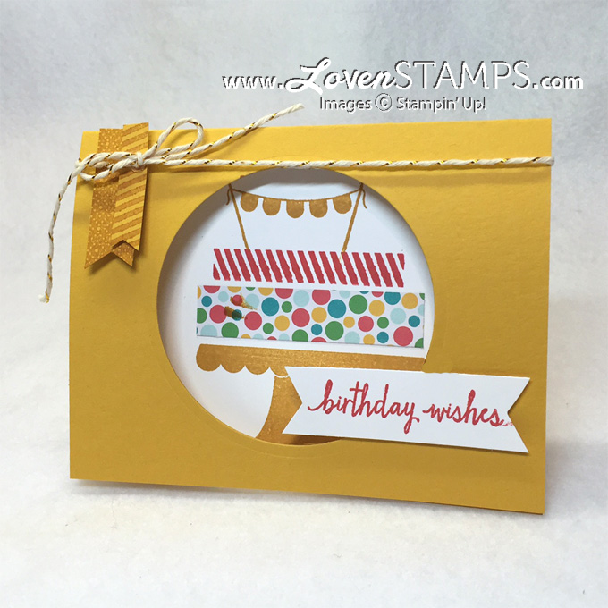 Build A Birthday cake window card - peek a boo birthday fun! Video Tutorial at LovenStamps for Stamps in the Mail Club with Meg (supplies by Stampin' Up)