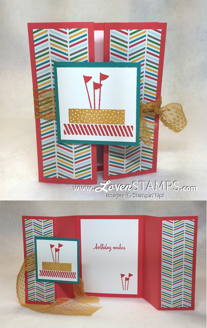 Double Gate Fold Card Technique: so easy! Video Tutorial by LovenStamps with Build A Birthday stamp set from Stampin Up