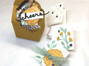 Baker's Box Thinlits Die Tutorial: How to Assemble (with a Bountiful Border tag and Greetings Thinlits), Tutorial by LovenStamps, all supplies Stampin' Up!