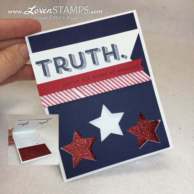 Words of Truth with Star Punch window, card by LovenStamps, products from Stampin Up