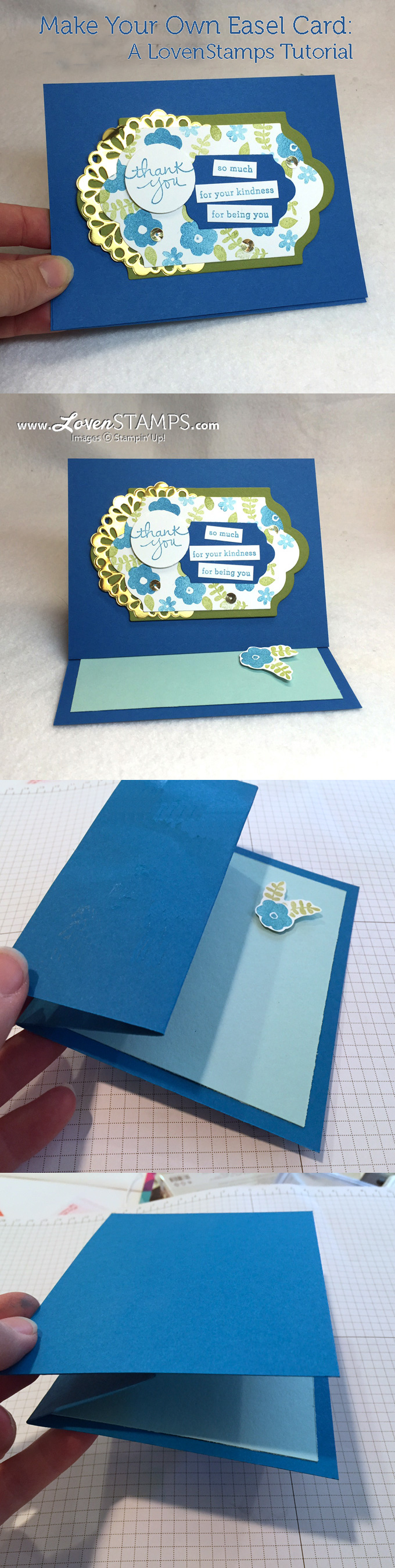 Video Tutorial: How to make an easel card | LovenStamps with supplies from Stampin' Up!