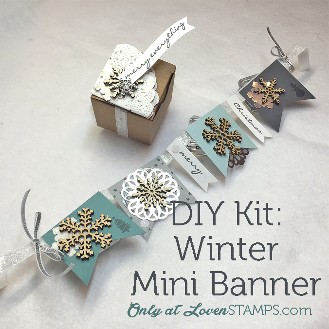 DIY Winter Mini Banner Kit - Video Tutorial by LovenStamps for Stamps in the Mail Club (all supplies Stampin' Up!)