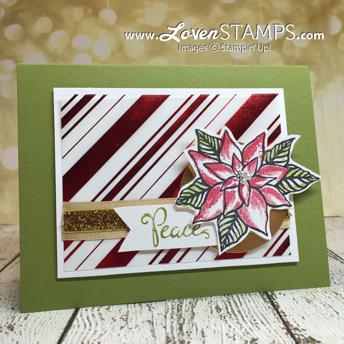 LovenStamps - Reason for the Season: Christmas poinsettia stamp set with Holiday Fancy Foil Designer Vellum - all supplies Stampin' Up!