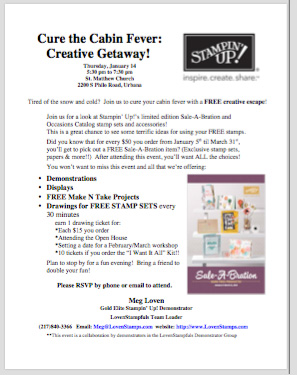 Champaign Urbana, Illinois - Stampin' Up! Open House event, Occasions and Sale-A-Bration Catalogs