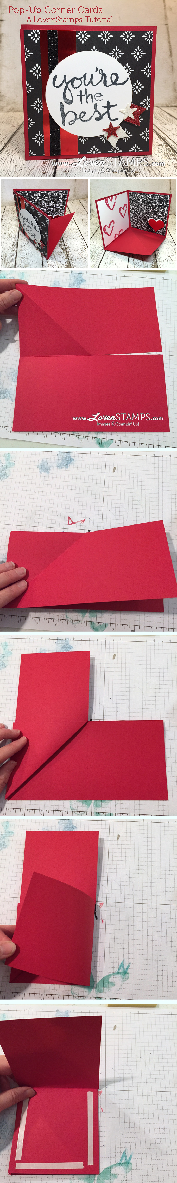 LovenStamps Video Tutorial: How to make a Pop-Up Corner Card, all supplies by Stampin' Up!