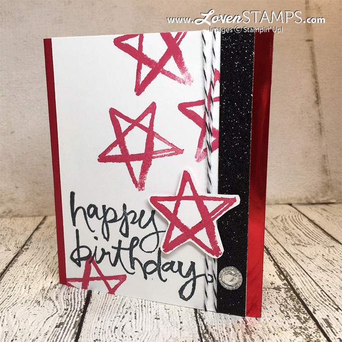 LovenStamps: Watercolor Words - birthday stars card idea for Stamps in the Mail Club - supplies from Stampin' Up!