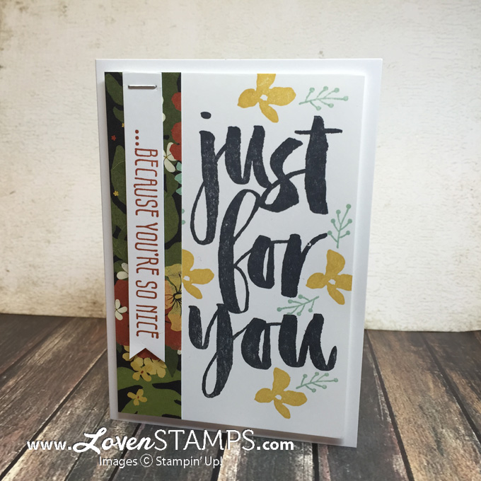 LovenStamps: Botanicals for You - free Sale-A-Bration stamp set, simple note card featuring coordinating Botanical Gardens designer series paper