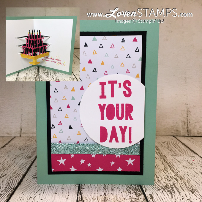 LovenStamps: Occasions Catalog Video Tutorial - Party Pop-Up Thinlits Dies and Party with Cake stamp set, for Stamps in the Mail Club with Meg