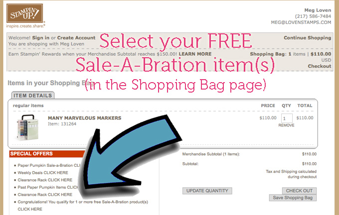 How to add free Sale-A-Bration items to your shopping bag or cart in the Stampin Up Demonstrator online store