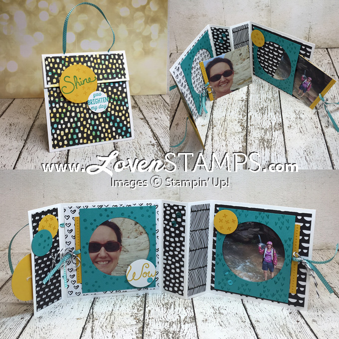 LovenStamps: Make Your Own Folding Purse Card (Mini Album) - Stamps in the Mail Club kits with the Sunburst Thinlits Die for February 2016, video tutorial included