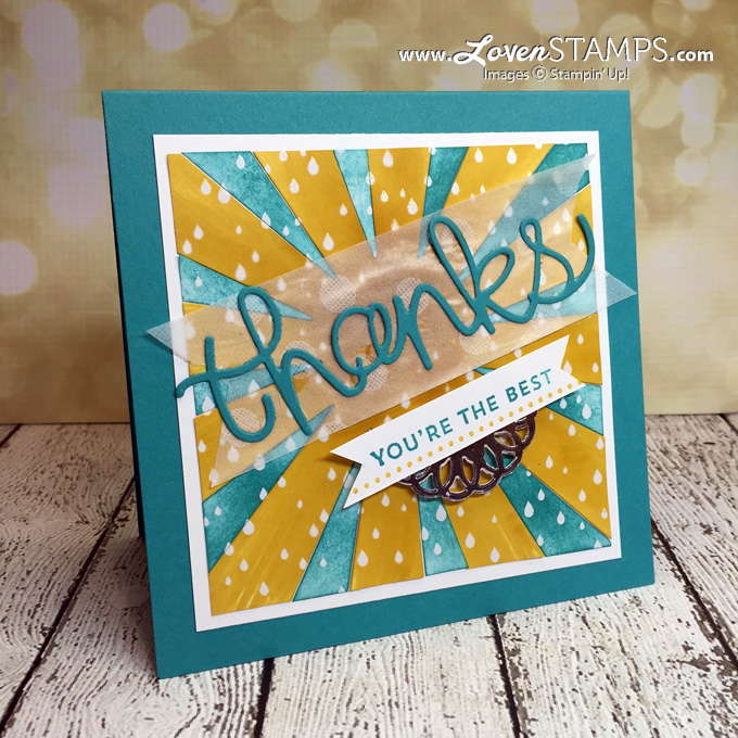 LovenStamps Video Tutorial: Sponged Sunburst Sayings & Thinlits Die with the Color Me Irresistible Designer Paper and Hello You Thinlits (created for Stamps in the Mail Club with Meg - exclusively at LovenStamps)