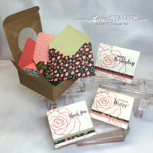 LovenStamps: Rose Wonder note cards and Pretty Petals Designer Paper Envelopes - how to make your own with the Envelope Punch Board, for Stamps in the Mail Club with Meg