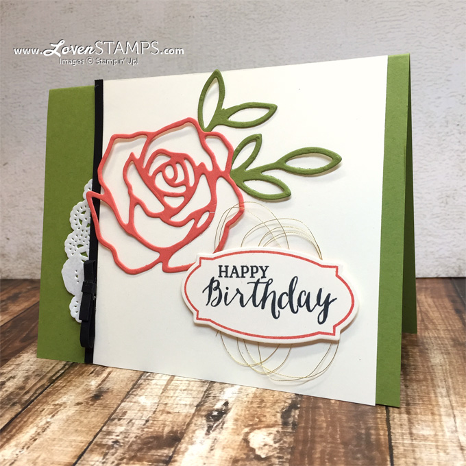 LovenStamps: Rose Wonder and the Rose Garden Thinlits Dies - video tutorial on simple design with the Rule of Three, project for Stamps in the Mail Club with Meg