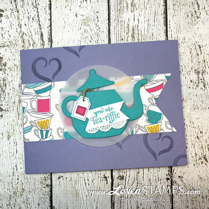 LovenStamps: A Nice Cuppa stamp set with the Cups & Kettle Framelits Dies, for Stamps in the Mail Club with Meg