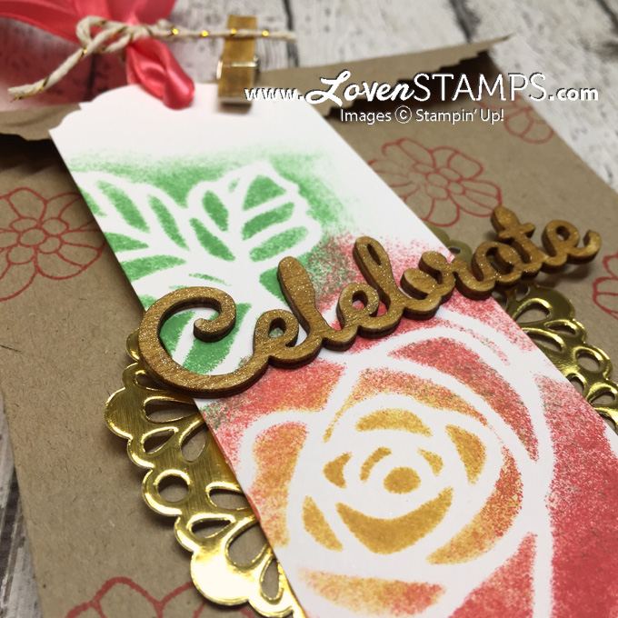 LovenStamps: Use the Rose Wonder Thinlits die cuts as a mask for sponging - technique idea, add Wink of Stella to wooden die cuts