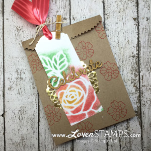 LovenStamps: Use the Rose Wonder Thinlits die cuts as a mask for sponging - technique idea using Stampin' Up! supplies