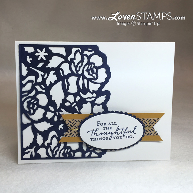 LovenStamps: Stamps in the Mail Club, July 2016 - Floral Phrases, featuring the Detailed Floral Thinlits, all supplies by Stampin' Up