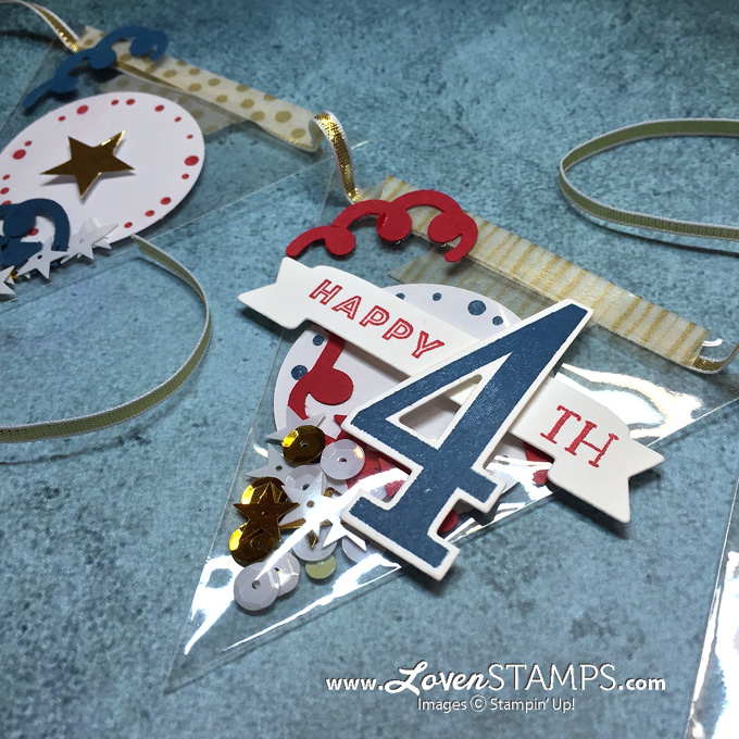 LovenStamps: Turn the June 2016 Paper Pumpkin kit into confetti banners for the 4th of July - just add Large Numbers and the Number of Years stamp set, all supplies Stampin Up