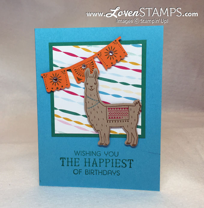 LovenStamps: Gotta love a birthday llama!  Birthday Fiesta card idea complete with die cut llama and Festive Birthday DSP - all supplies Stampin Up