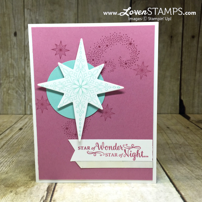 LovenStamps: Star of Light with the Starlight Thinlits, try a purple & blue Christmas card