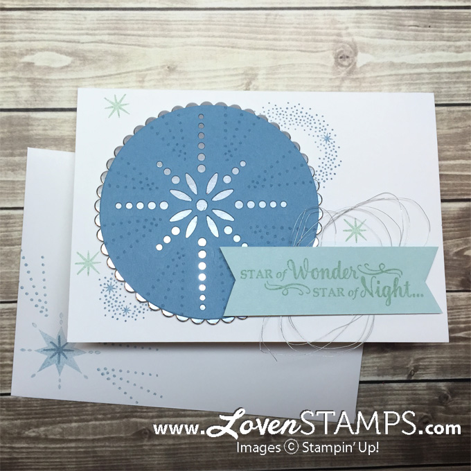 LovenStamps: Star of Light note card - use the negative space cut out by the Starlight Framelits Dies with the Layering Circles Thinlits