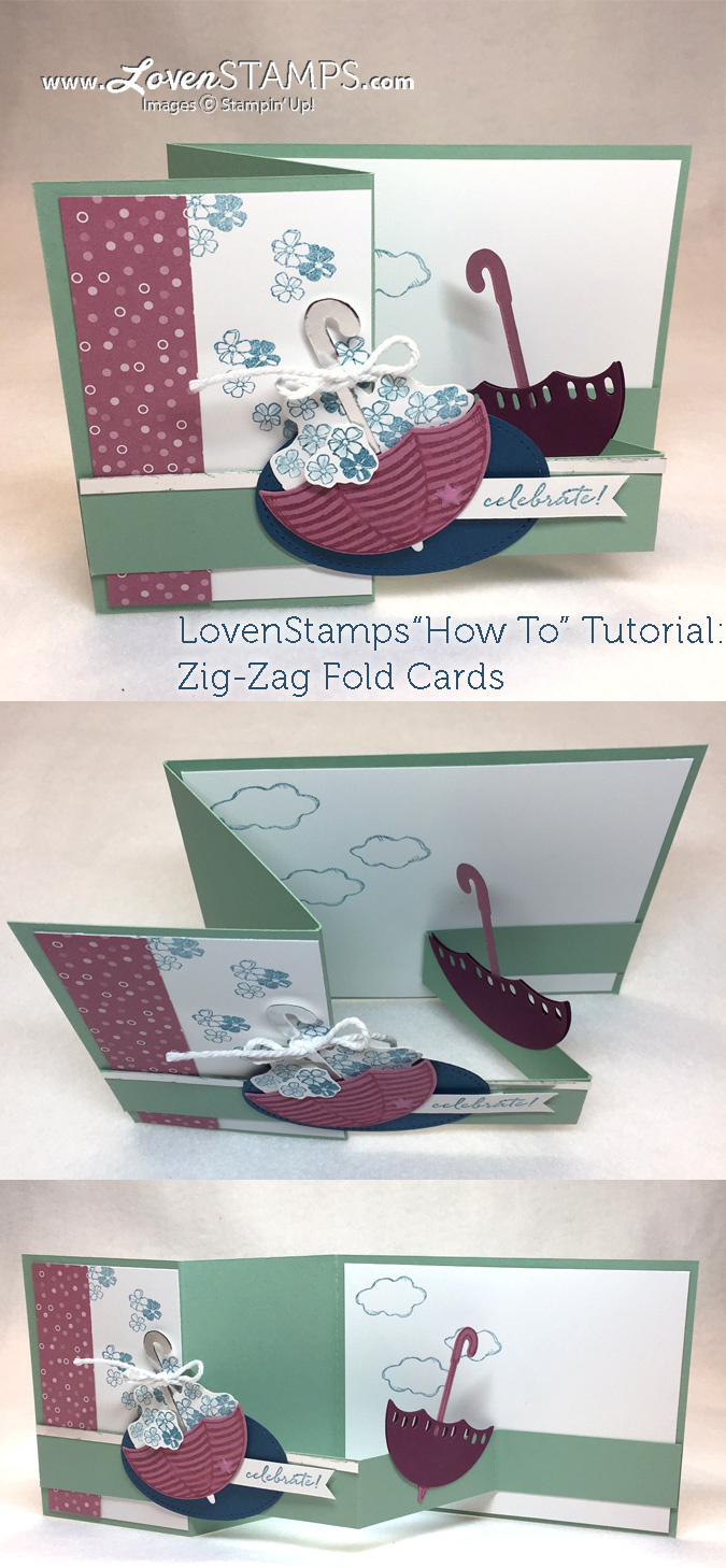 LovenStamps for Stamps in the Mail Club: How to make a zig-zag pop-up card (video tutorial).  Featuring Umbrella Weather and Weather Together.
