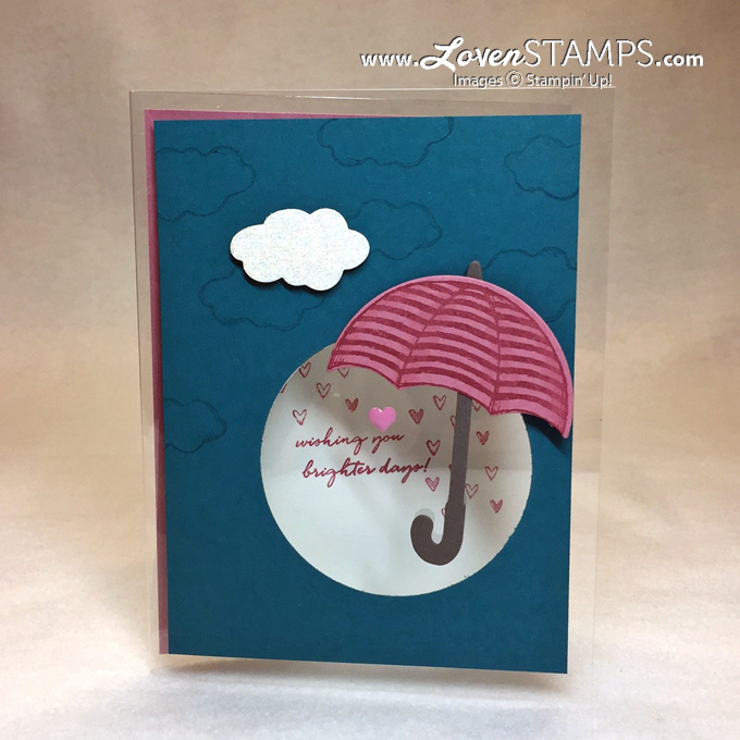 LovenStamps for Stamps in the Mail Club: Make clear see-through cards with Window Sheets.  Umbrella Weather and Weather Together coordinate for a clear card video tutorial.