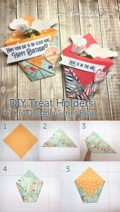 LovenStamps: Make your own treat holders - no adhesive needed! - with the Carried Away Designer Series Paper.
