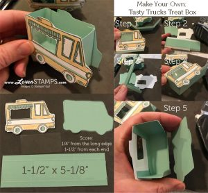LovenStamps: Tutorial on the Tasty Trucks Treat Box pictured in the Sale-A-Bration Mini Catalog!  So simple when you have the cutting sizes.