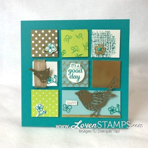 LovenStamps: Sampler Frame with Best Birds with the Birds & Blooms Thinlits Dies for Stamps in the Mail Club with Meg - kits and video tutorials only available from LovenStamps