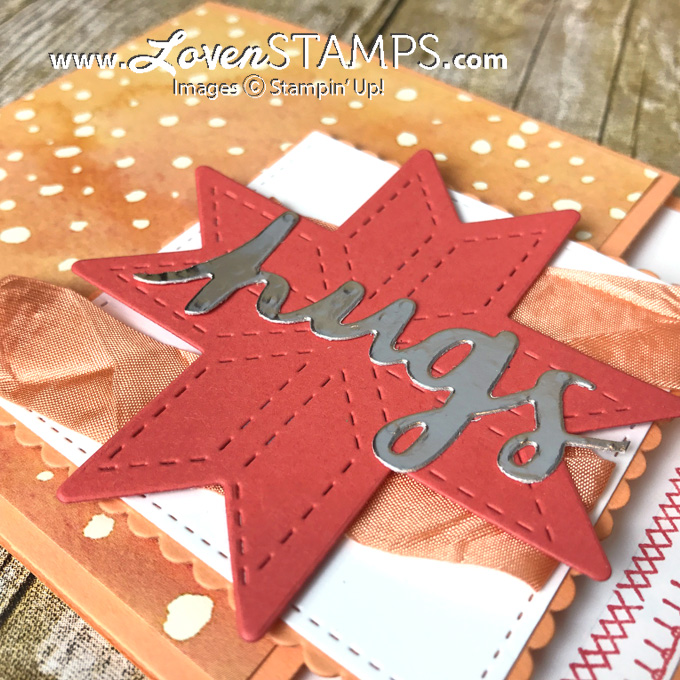 LovenStamps: Make your own 8 point star quilt with Quilt Builder Thinlits - complete with blanket stitching from Christmas Quilt stamp set, for Stamps in the Mail Club with Meg