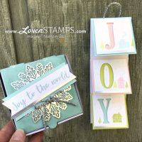"LovenStamps: Mini Folding Card with 3x3"" Envelopes and custom Joy Pizza Box for Stamps in the Mail Club with Meg"