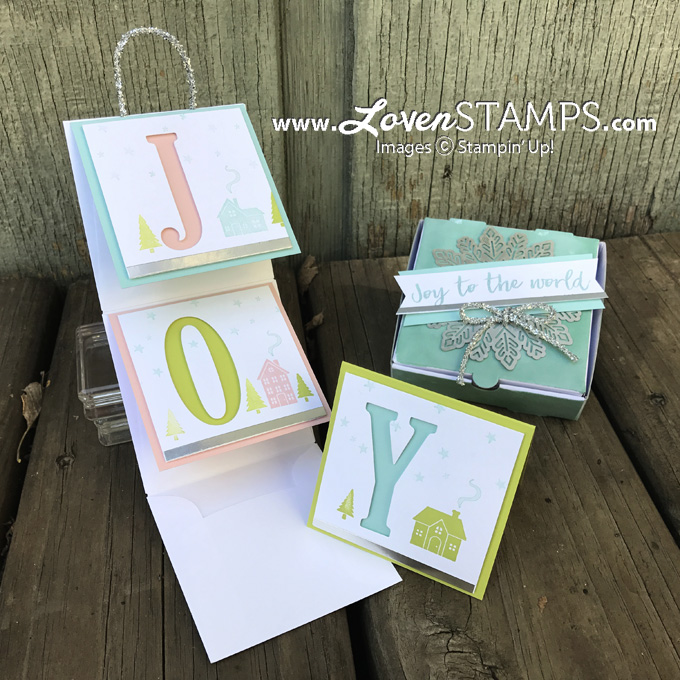 """LovenStamps: Mini Folding Card with 3x3"""" Envelopes and custom Joy Pizza Box for Stamps in the Mail Club with Meg"""