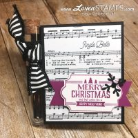 LovenStamps: Merry Music Treat Tubes for Christmas - black and white and Berry Burst all over, with Labels to Love stamp set