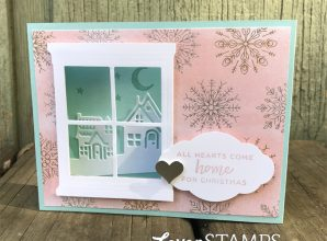 LovenStamps: New Hometown Greetings Shadowbox with Hearth & Home Framelits Dies and Year of Cheer paper for Stamps in the Mail Club with Meg