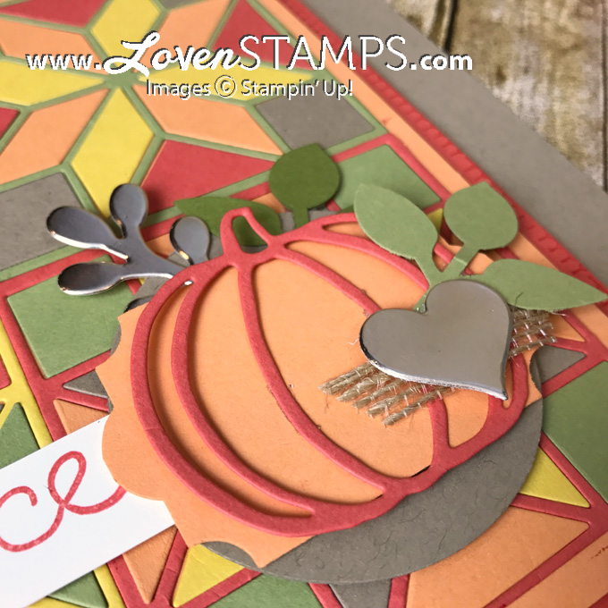 LovenStamps: Quilted Christmas and Quilt Builder Framelits Dies with the Patterned Pumpkins Thinlits for Stamps in the Mail Club, all supplies Stampin Up