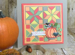 LovenStamps: Use the Quilt Builder Framelits Dies to make your own quilted paper sampler, featuring Patterned Pumpkin Thinlits for Stamps in the Mail Club with Meg