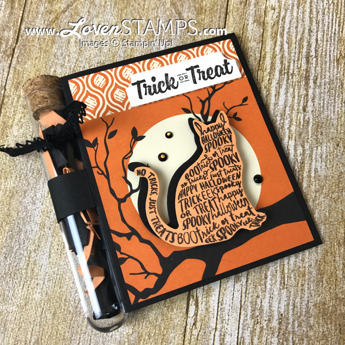 LovenStamps: Spooky Cat and the Cat Punch Treat Tube Holder Card - updated directions for using Spooky Night Designer Series Paper