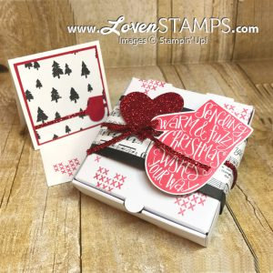 LovenStamps: Smitten Mitten and the Mini Pizza Boxes - perfect for Christmas treats and gift cards with the Merry Music papers, all products Stampin Up