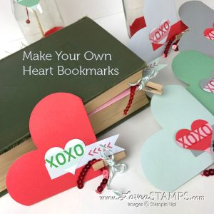 LovenStamps: DIY heart bookmarks for Valentine's Day - just fold the edges and decorate