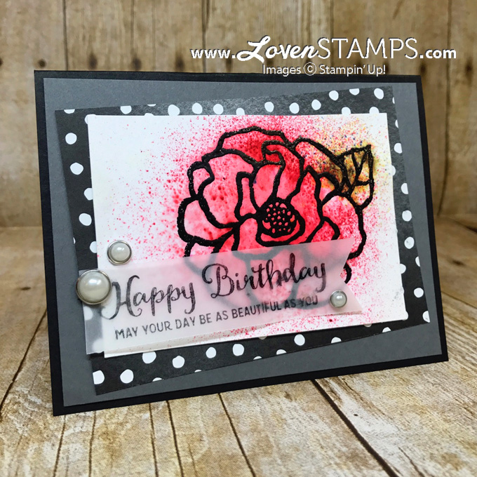 Beautiful Day card idea with brusho spritzing technique