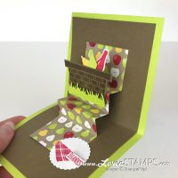 Tutti Frutti designer series paper, Picnic Basket Builder Thinlits Dies, pop-up card tutorial