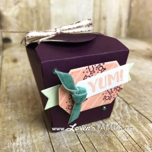 LovenStamps: Sweet Treat Boxes with Takeout Treats stamps and Thinlit Dies for Stamps in the Mail Club with Meg, all supplies Stampin Up