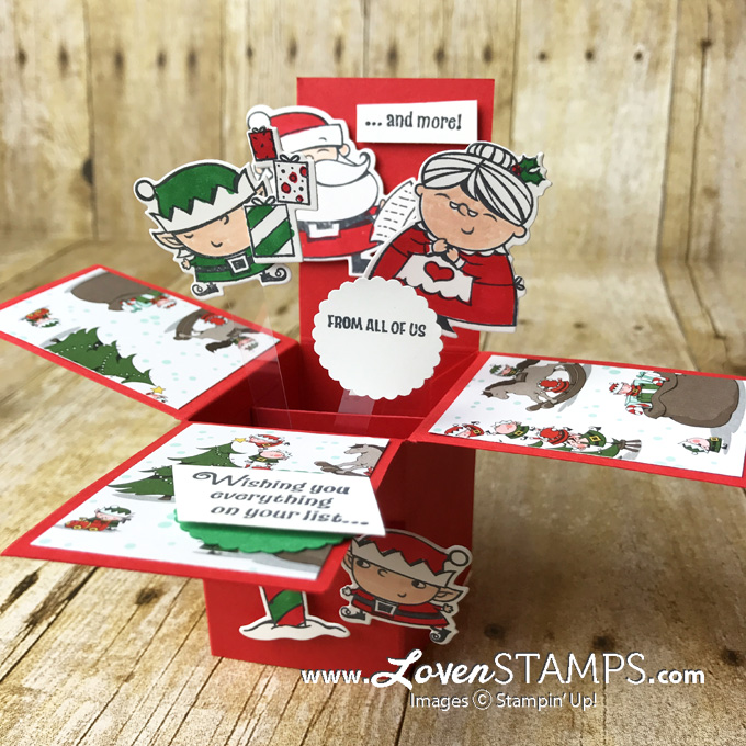 Explosion Box Cards Made Simple Signs Of Santa Christmas Card Tutorial Lovenstamps